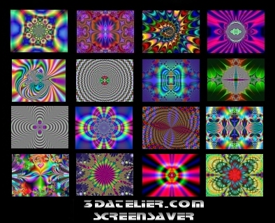 Screensavers program 16x 3D psychedelic images (jpg)